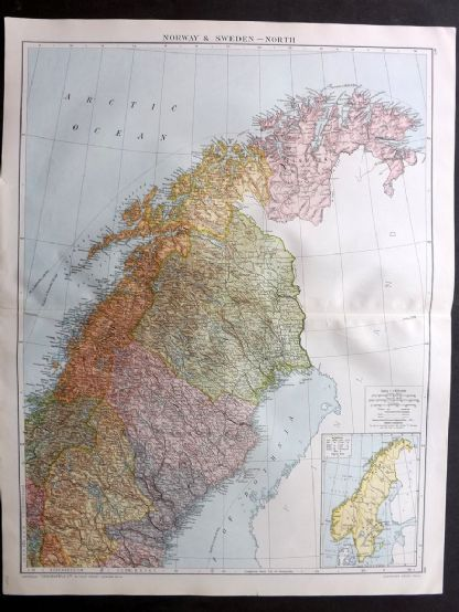 Gross 1920 Large Map. Norway & Sweden - North